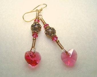 Heart Earrings for Women Pink Crystal Gold Dangle Earings Gift for Her Pink and Gold Wire Wrapped Handmade Jewelry Ships from Canada