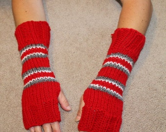 Ohio State Buckeyes Team Colors Fingerless Gloves-NCAA-Mittens-texting gloves-gift ideas