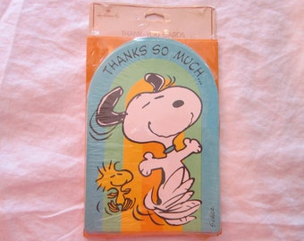 vintage SNOOPY thank you cards - Hallmark Peanuts - old stock - 10 cards- thanks so much snoopy and woodstock rainbow