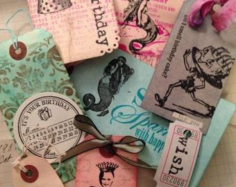 handmade gift tag bundle -BIRTHDAY GIRL MERMAID tags