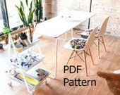 Knitted Chair Pad PDF Pattern - Egg Chair Pillow Knitting Pattern - DIY Rocking Chair Pad Pattern - Eames Chair Pad Pattern -