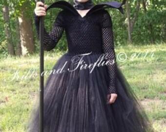 Girls Magnificent Evil Tutu Costume 4 Piece Set w/Dress, Collar, Horns Headpiece, Neck Wrap in Baby to Sz 10, Birthday Themes, Halloween