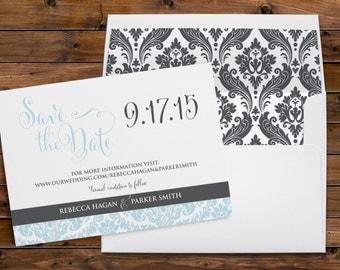 Damask Border, Elegant, Save the Date, Wedding Invitation, Hand Drawn Font, Baby Blue, Silver Design, Printable Digital, PDF Customized File