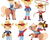 Just Cowboys Digital Clipart, Cowboy Graphics, Cowboy Clip Art, Cute Cowboy Clipart, Pony Clipart, Cowboy with Rope, Cowboy Hat, western