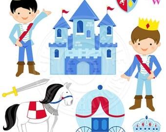 Little Prince Cute Digital Clipart, Prince Clip Art, Castle Clipart, Royal Clipart, Fairy Tale Graphics, Horse, Carriage