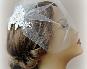 Ivory Birdcage Veil and Lace Bridal Fascinator, Vintage Style Blusher Wedding Veil and Lace Hair Clip with Pearls - LYLA