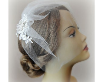 Birdcage Veil and Ivory Lace Bridal Fascinator, Vintage Style Blusher Wedding Veil and Lace Hair Clip with Crystals and Pearls - LORALEI