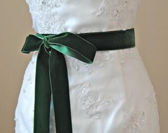 Hunter Green Velvet Ribbon, 1.5 Inches Wide, Dark Green Ribbon Sash, Forest Green, Green Bridal Sash, Wedding Belt, 4 Yards