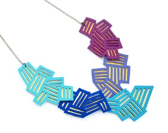 Turquoise Statement Necklace, Geometric Necklace, Blue and Purple Chevron Bib Necklace, Zig Zag Stripe Necklace, Modern Metallic Necklace