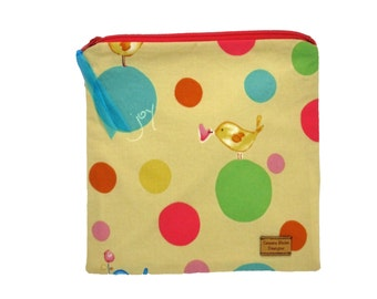Sandwich Size Bag - Joy Bird on Pale Yellow - Zippered Bag - Zipper Closure