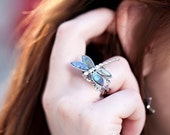 Silver Dragonfly Ring - Dragonfly Jewelry - Abalone Ring - Abalone Shell Ring - Mother of Pearl Ring - Silver Crystal Filigree Adjustable