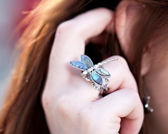 Silver Dragonfly Ring - Unique Ring - Dragonfly Jewelry - Abalone Ring - Abalone Shell Ring -Mother of Pearl Ring -Silver Crystal Adjustable