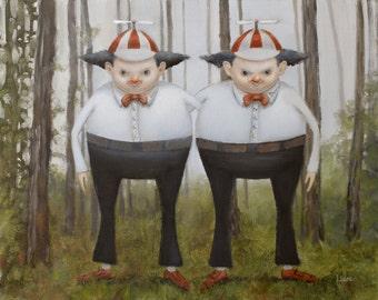 TweedleDee and TweedleDum. Signed 8x10 Print of an Original Oil Painting