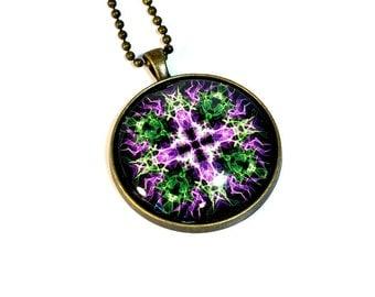 Psychedelic Cross Amulet Necklace, Mandala Pendant, New Age Mandala Jewelry,  LARGE