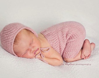 Newborn Ribbed Knit Romper with Matching Bonnet - Simply Solids Romper - Knit Bonnet - Photography Prop