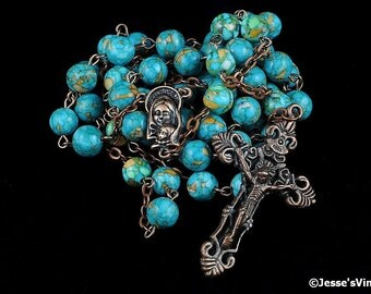 Traditional Rosary Catholic Reconstituted Turquoise Natural Stone Antique Copper Rustic