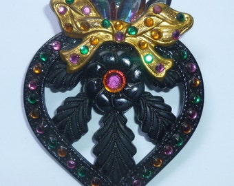 Vintage Black Victorian Style Pin With Multi Colored Crystals And Gold Bow