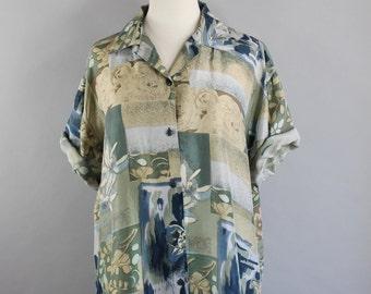 SALE - Vintage 80s Womens Silk Short Sleeved Artist Shirt Blouse // Summer Silk Shirt