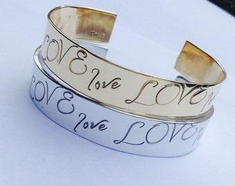 The Love Cuff Bracelet .  . Hand stamped Anniversary Jewelry . Personalized Valentine's Jewelry