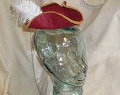 Pirate Hat Fascinator- Red, Gold and White Mini Tricorn Hat