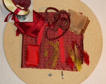 Bonnet Kit- DIY- Red and Gold- Regency, Georgian, Jane Austen Era Bonnet