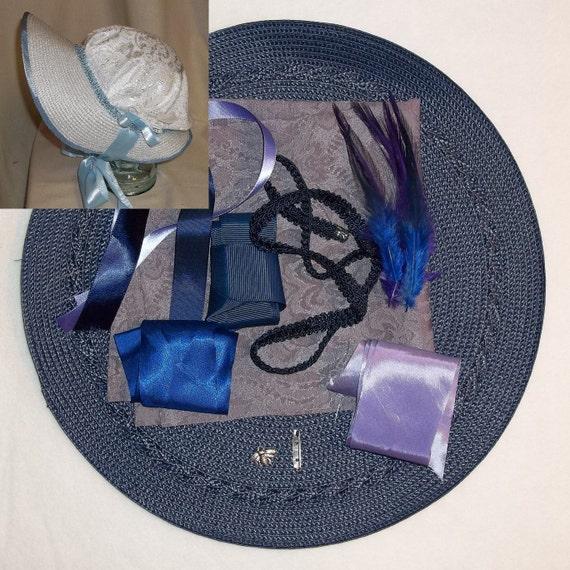 Bonnet Kit- DIY- Lavender and Navy Blue- Regency, Georgian, Jane Austen Era Bonnet
