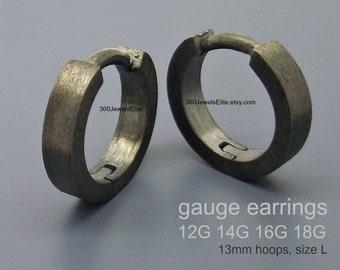 Gauge earrings - 14 Gauge earrings - body jewelry - 12 gauge 16 gauge 18 gauge -  black gold plated gauged hoop earrings - E190 Gauge