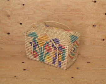 Vintage 70's Aztec Indian Style Floral Pastel Straw Basket Great For Storage