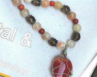 Semi precious wire wrapped agate carnelian gray quartz beaded  stone necklace