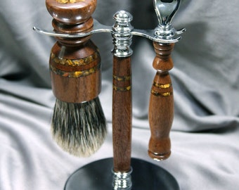 Men's Gillette Mach3 shaving kit razor brush badger hair handcrafted wooden men's gifts father's day birthday groom gift ready2ship