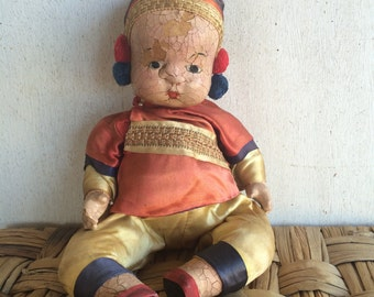Antique Collectible Doll // Chinese Doll // Composite Doll