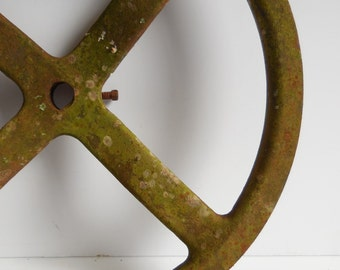 Antique Metal Wheel Cast iron Pulley groove Mossy Lichen aged Industrial Salvage Re-Purpose Supplies