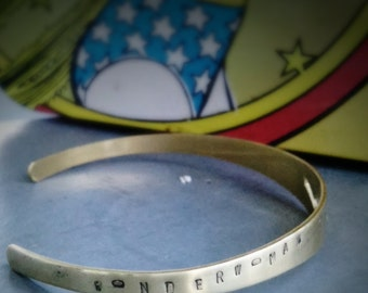 Dianas Crown - adjustable superhero metalwork cuff, hand stamped Wonderwoman bracelet