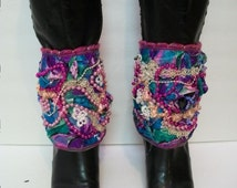 Handmade Boot Spats, Boot Covers, Quilted,  Heavily Embellished Tie on Boot spats, Ankle Cuffs, Bright Colored Spats, Boot Accessories,