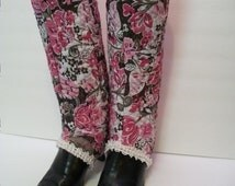 Handmade Quilted Boot Spats, Pink Floral Glitter Fabric Boot Covers, High Top Boot Spats, Decorative Boot Accessories,
