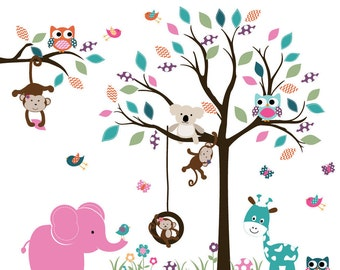 Vinyl Wall Decal  Wall Decals Nursery - Nursery wall decal -Tree decal -Children Wall decal -Nursery Tree Vinyl Decal
