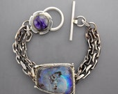 Boulder Opal Chain Bracelet  With Sugilite