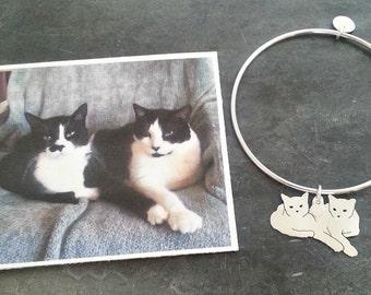 Cat Bangle Custom 2 Pet Portrait TaGette .. Sterling Silver silhouette Jewelry Memoralize Keepsake