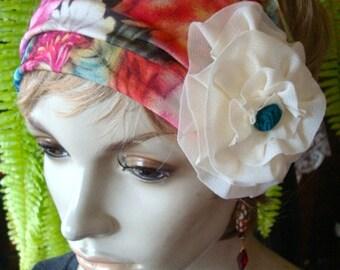 womens Headband extra Wide Headband floral Comfortable Chemo Alopecia