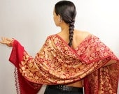 Red Gold Shawl, Silk Pashmina, Shawl Wrap, Wedding Shawl, Wool Pashmina, Pure Silk Embroidered Shawl, Bridal Shawl, Evening Shawl Cover Up