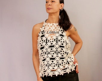 Ivory Lace Top Tank, Crochet Top, Shabby Chic Boho Wedding Bridal Lace Top, Sleeveless Lace Shirt, Bamboo Summer Top, Women Lace Blouse