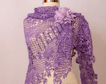 Lilac Crochet Shawl, Lace Shawl, Purple Wedding Wrap Shawl, Wedding Bolero and Shrug, Lavander Linen Flower Shawl, Bridesmaid Bride Shawl