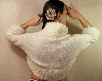 Ivory Shrug Bolero, Sweater, Knit Bolero Cardigan, Knit Shrug, Wedding Bolero Jacket, Bridal Shrug Bolero, Wedding Cover Up / S-M-L