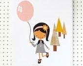 SALE Girl with Balloon Pretty Pink Mustard Black on White Art Print Nursery Poster