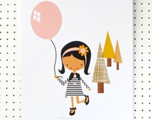 Girl with Balloon Pretty Pink Mustard Art Print Nursery Poster