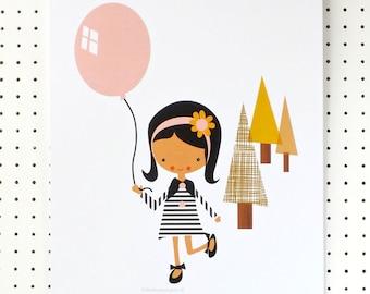 Girl with Balloon Pretty Pink Mustard Art Print Nursery Poster