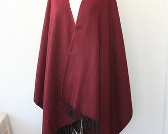 Burgundy wrap poncho Blanket cape Solid plain marsala color Winter fashion outerwear Winter wrap womens clothing Christmas gift
