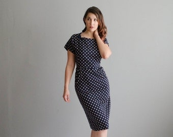 50s Polka Dot Dress - Vintage 1950s Dress - Window Shopper Dress