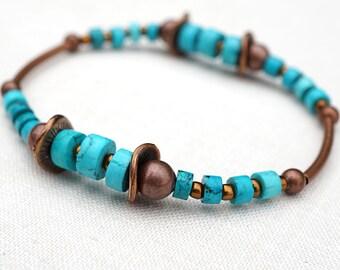 Blue Turquoise Bracelet Thin Stackable Bracelet Tiny Bangle Boho Layering Unisex Bracelet Tribal Inspired Antiqued Copper Tube jewelry trend