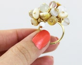 OUT OF TOWN - Seashells in the Sand - Cream White Gold Beaded Cluster Adjustable Ring Shell Glass - Big Chunky Cocktail Beach Fun Ring